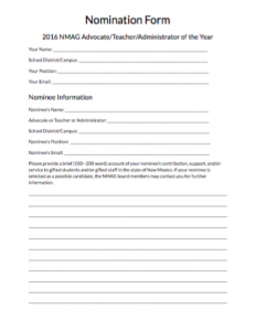 Thumbnail of 2016 Award Nomination Form