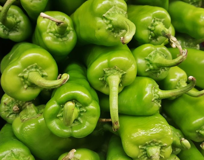 Photo of fresh green chili peppers